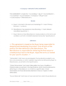 printable manufacturing contract  3 easy steps contract manufacturing proposal template example