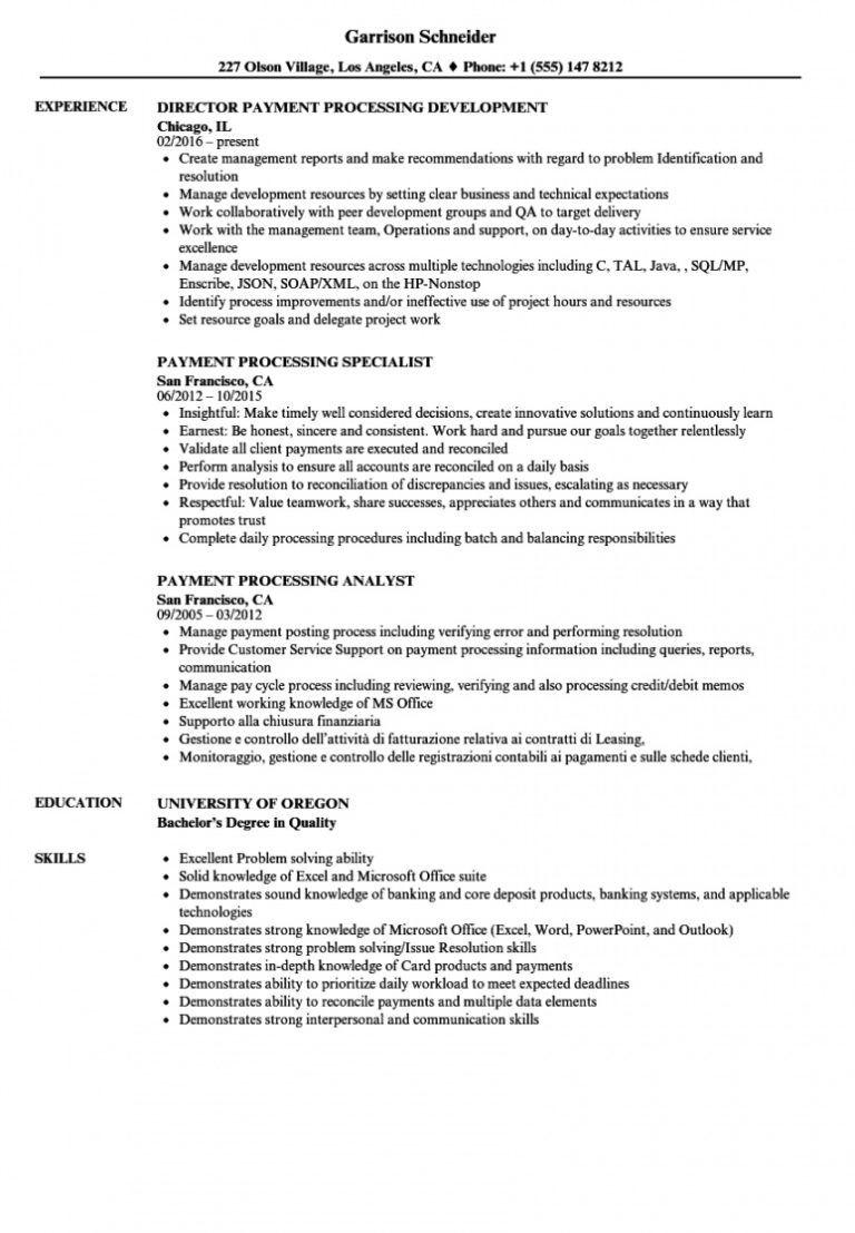 printable payment processing resume samples velvet jobs
