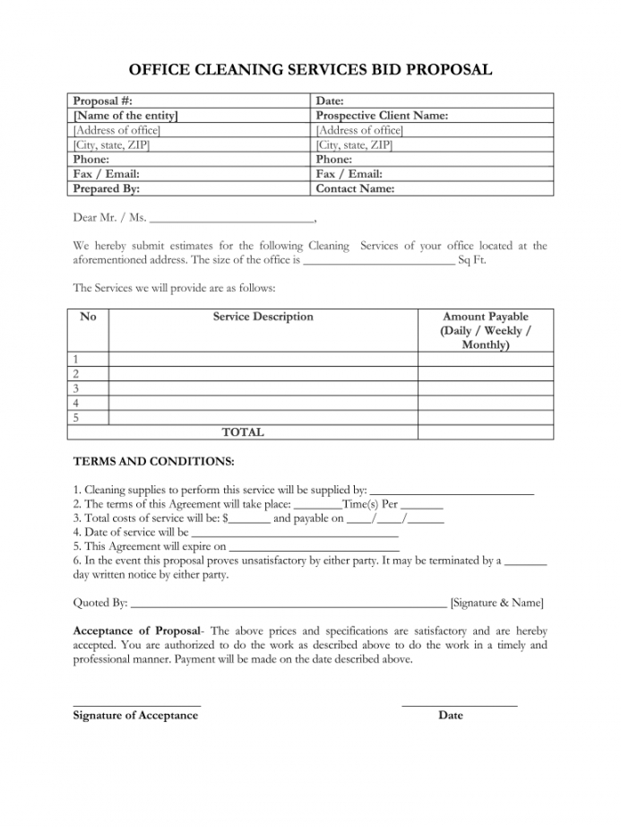printable proposal for cleaning services pdf  fill online printable cleaning service business proposal template pdf