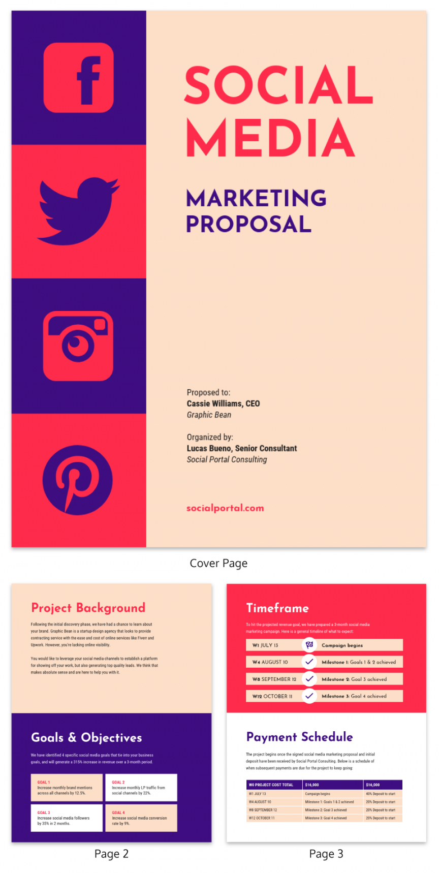 printable vintage social media consulting proposal template social media campaign proposal template excel