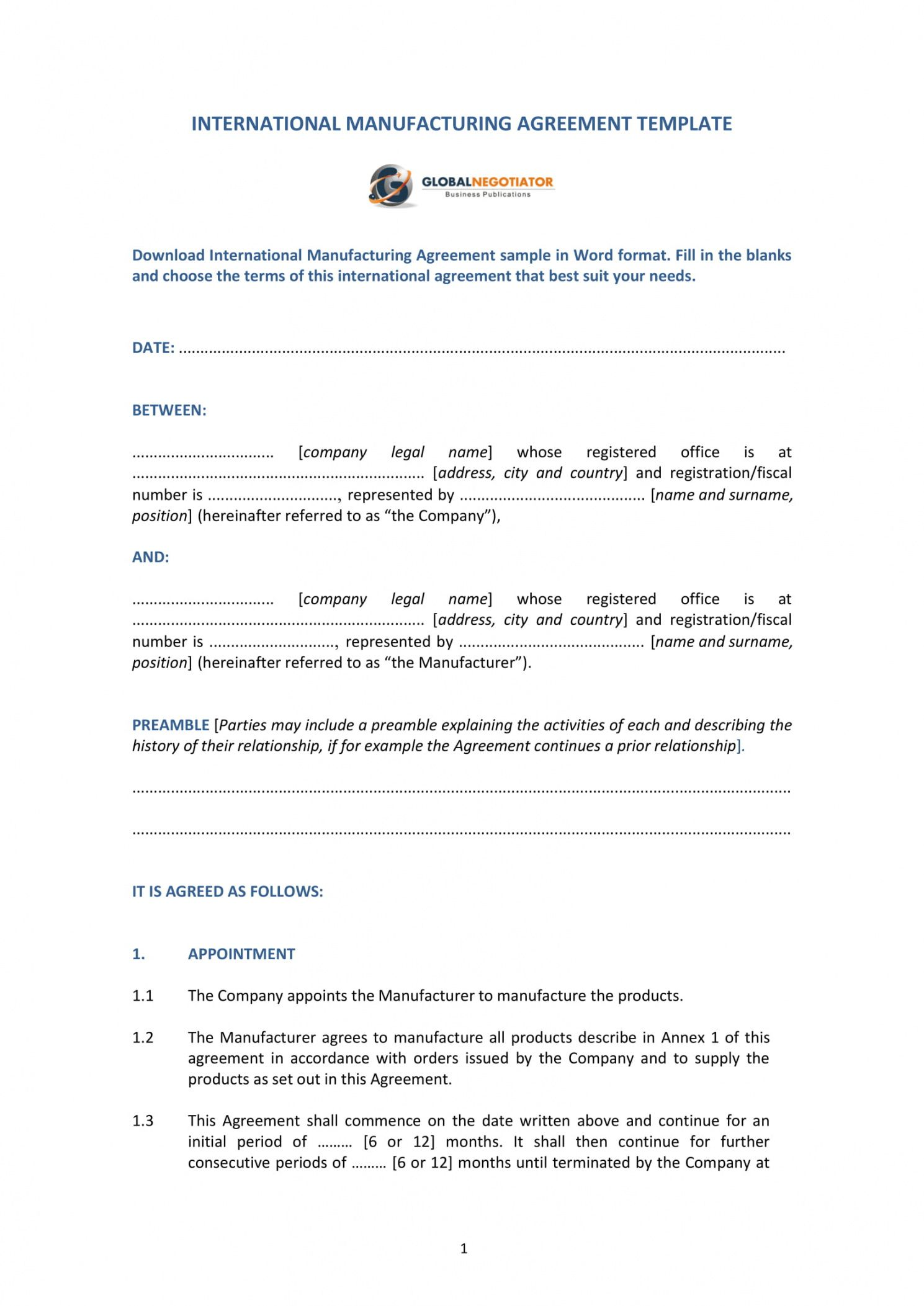 sample 11 contract manufacturing agreement examples in pdf contract manufacturing proposal template example