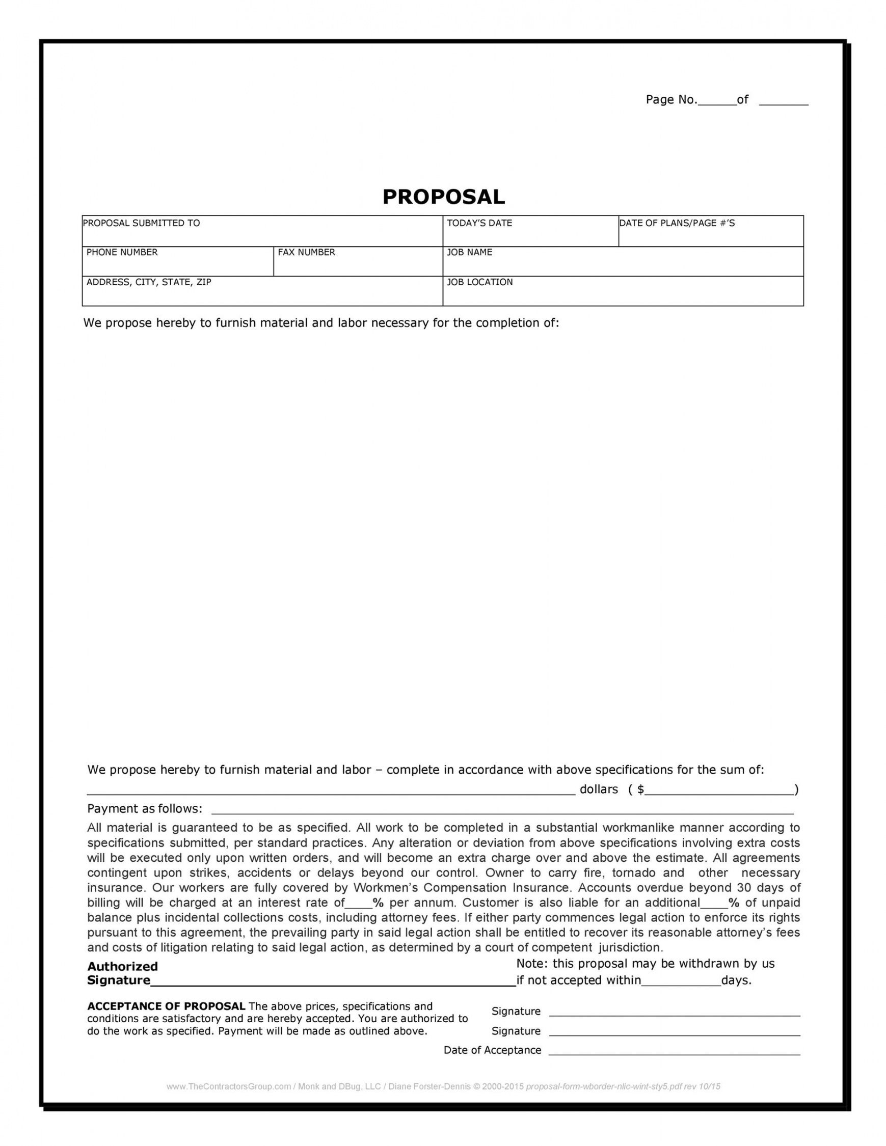 sample 31 construction proposal template & construction bid forms job estimate proposal template pdf