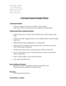 sample sample catering proposal template  chainimage catering proposal template pdf