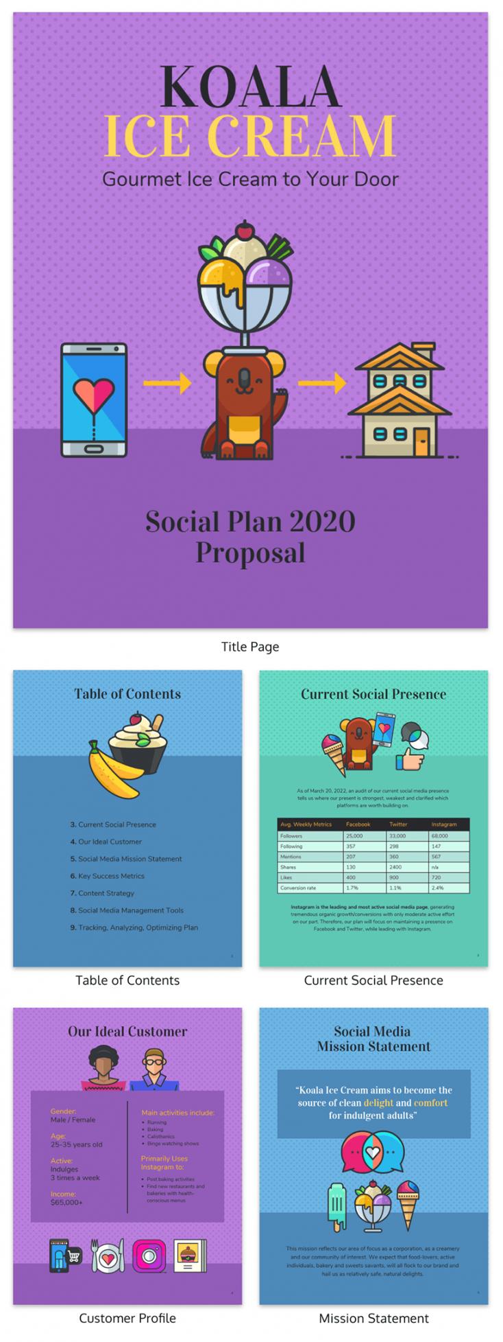 sample social media plan proposal template social media management proposal template excel