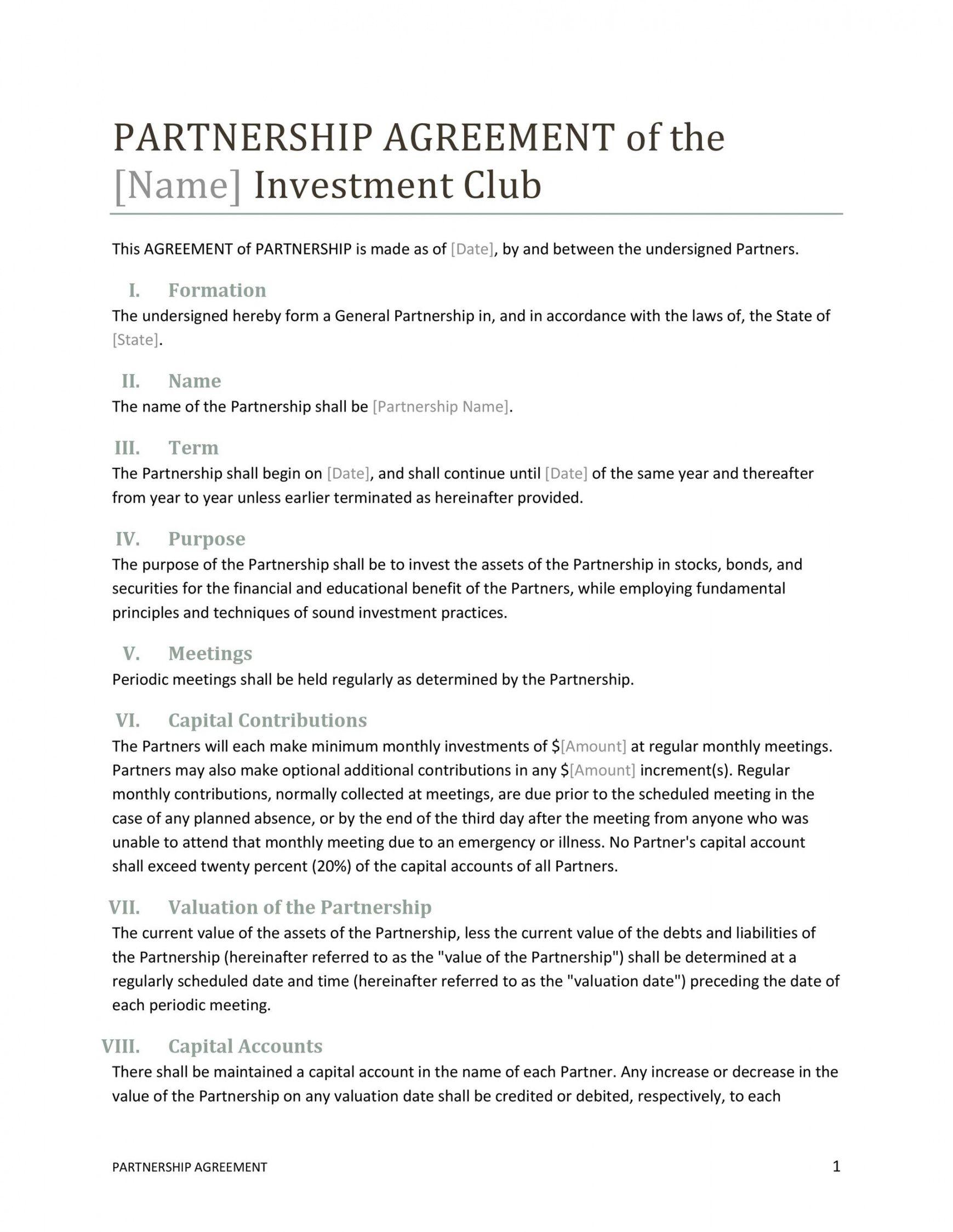 editable 40 free partnership agreement templates business general asset management agreement template doc