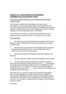 editable 50 artist management contract templates ms word  templatelab music management contract template pdf