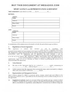 editable sport agency and representation agreement sports management contract template example