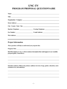 editable tv program proposal  fill online printable fillable library program proposal template pdf