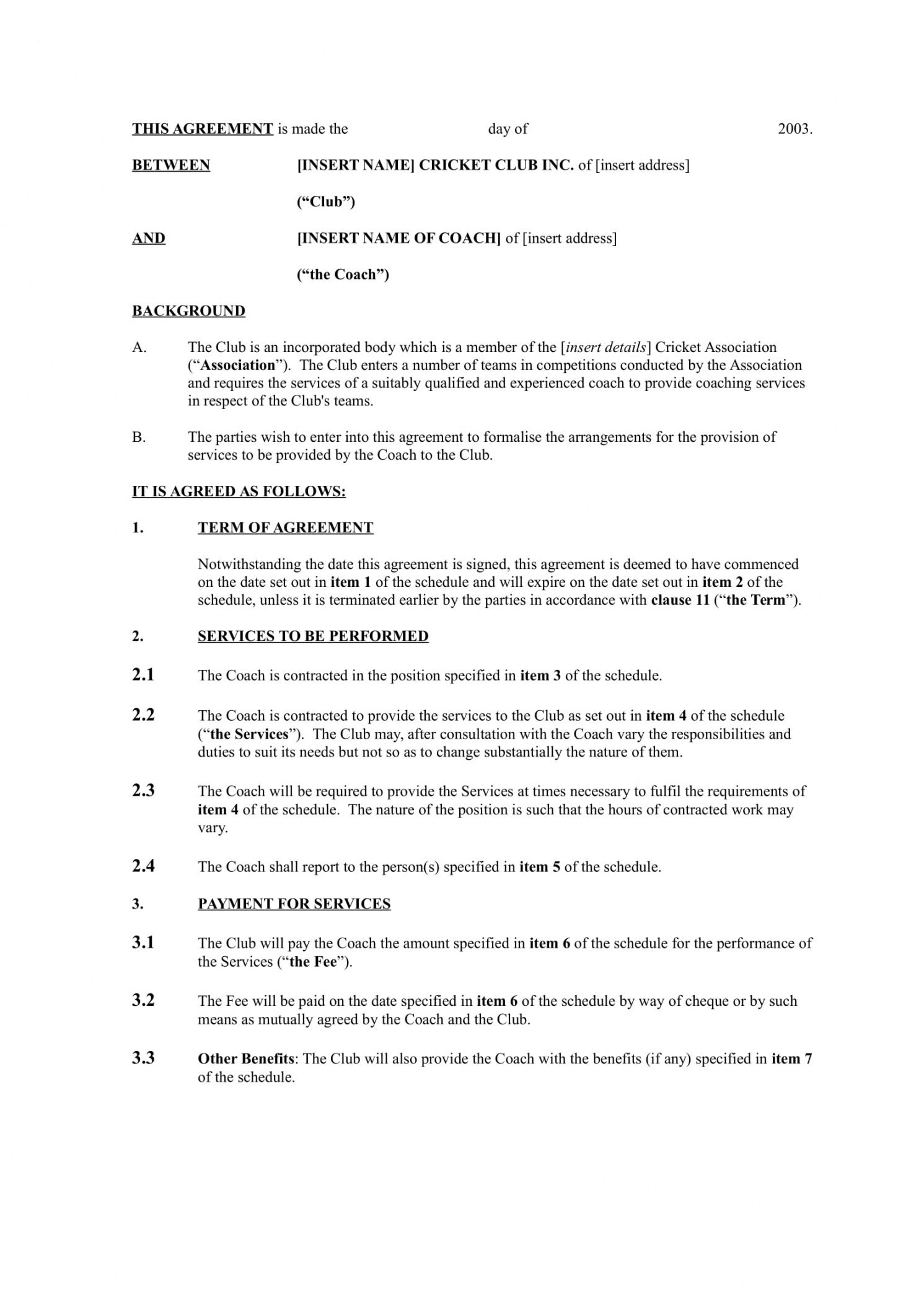 free 13 sports coach contract example templates  docs word sports management contract template word