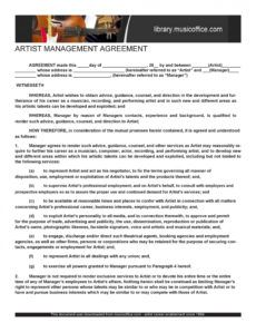 free 50 artist management contract templates ms word  templatelab music management contract template