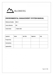 free environmental management system manual template  bloberg environmental management system template excel
