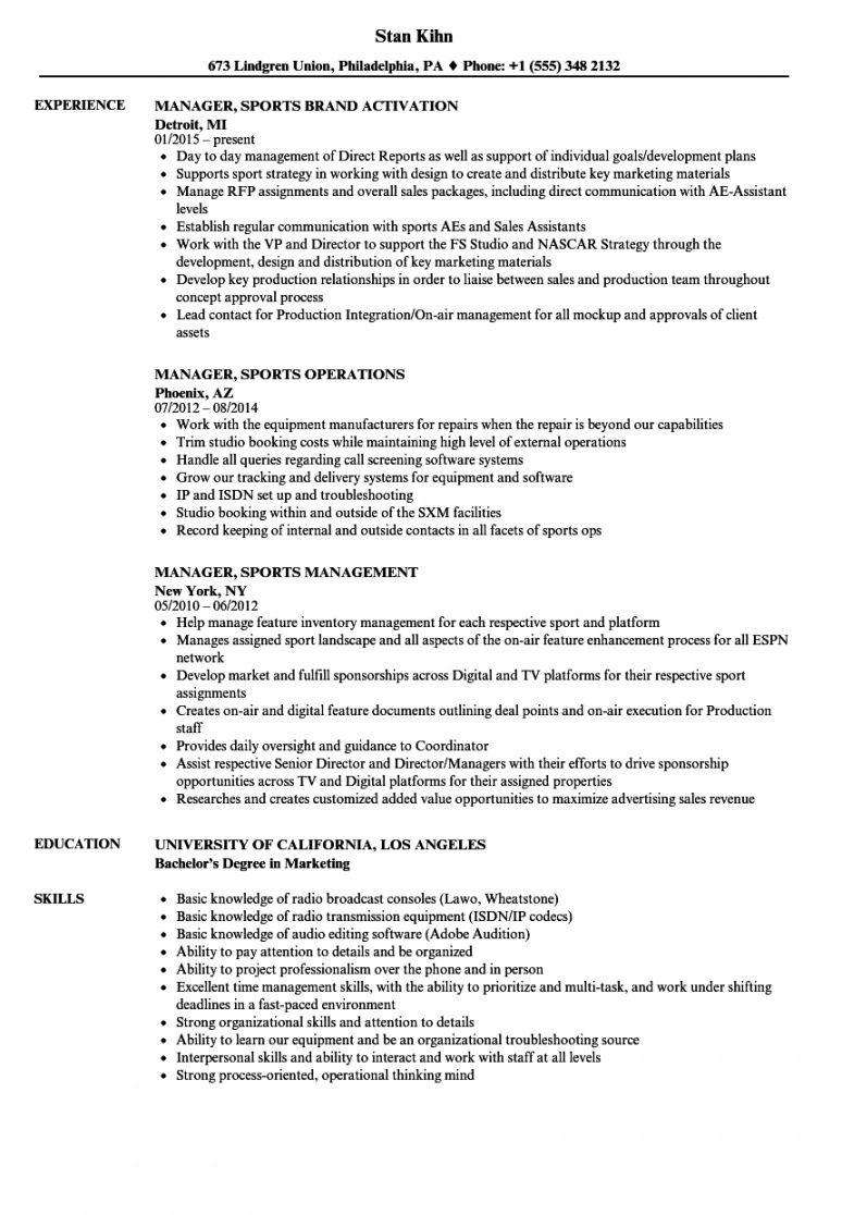 free manager sports resume samples  velvet jobs sports management resume template