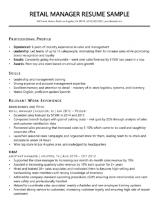 free retail manager resume sample & writing tips  resume companion retail management resume template doc