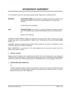 free sponsorship agreement template  by businessinabox™ cross promotion proposal template pdf