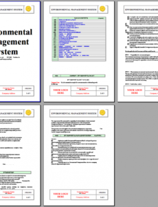 printable iso 14001 environmental system instant download iso14001 environmental health and safety management system template word