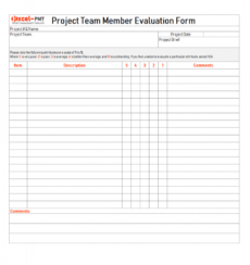 project team member evaluation form project management project management evaluation template