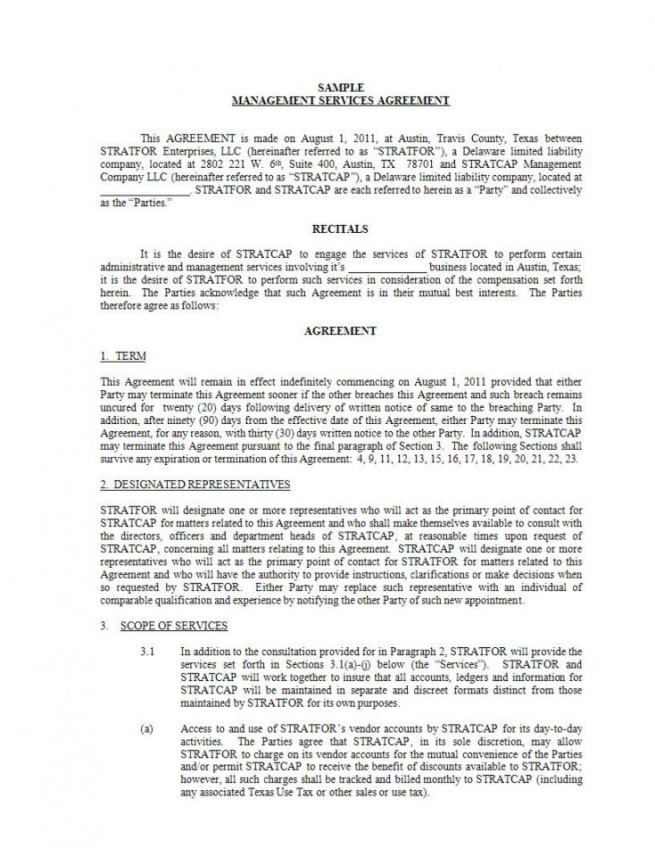 sample 11 management services agreement  pdf doc  examples restaurant management contract template example