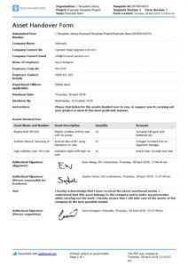 sample asset handover form template easy for employee and company asset management agreement template excel