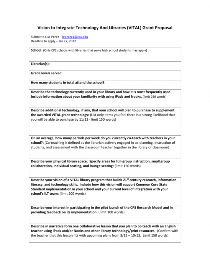 sample vital grant proposal template  cpslibraries library program proposal template doc