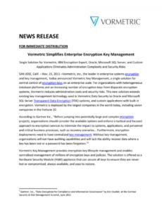 sample vormetric simplifies enterprise encryption key management encryption key management policy template example