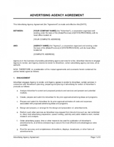 advertising agency agreement template  by businessinabox™ model management contract template