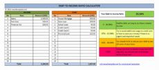 debttoincome dti ratio calculator  excel templates debt management template example