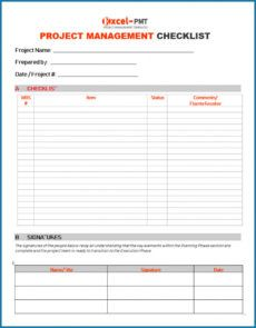 √ free printable project management checklist template checklist project management template