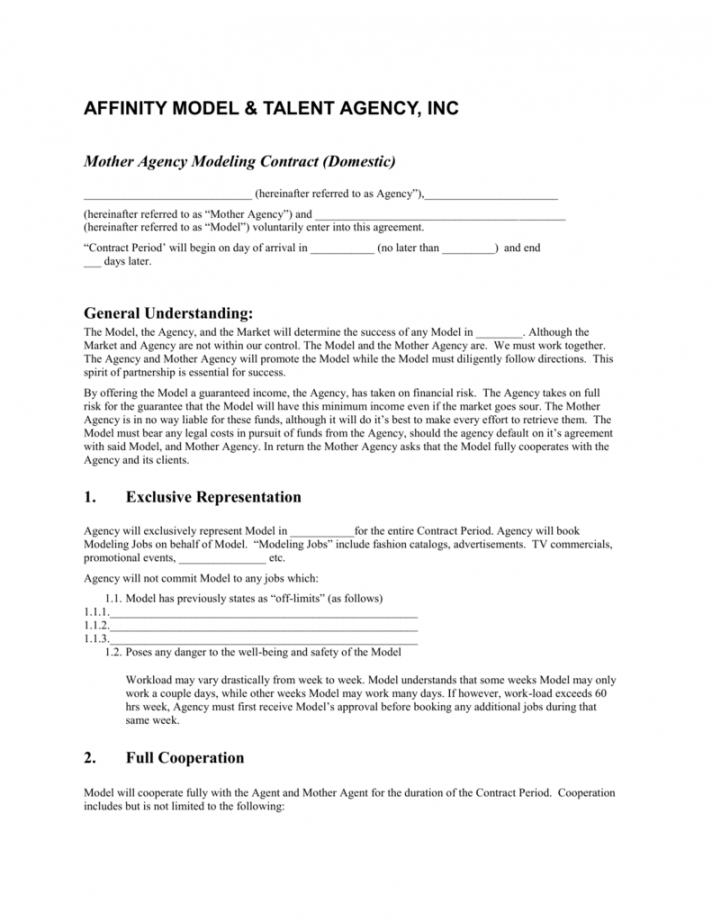 editable mother agency modeling contract model management contract template example