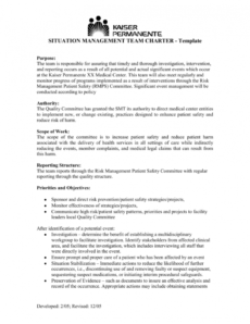 editable situation management team charter risk management committee charter template doc