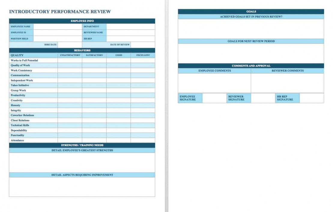 free employee performance review templates  smartsheet individual performance management template example