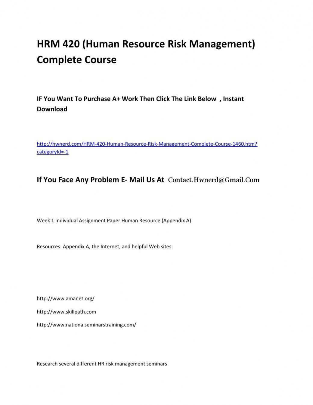free hrm 420 human resource risk management complete course a human resources risk management template excel