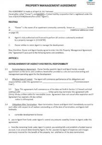 free property management agreement template ~ addictionary commercial property management agreement template example