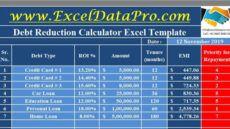 printable download debt reduction calculator excel template  exceldatapro debt management template
