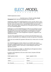printable elect model management employment contract by nathan model management contract template word