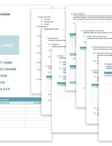 printable free change management templates  smartsheet change management process document template word