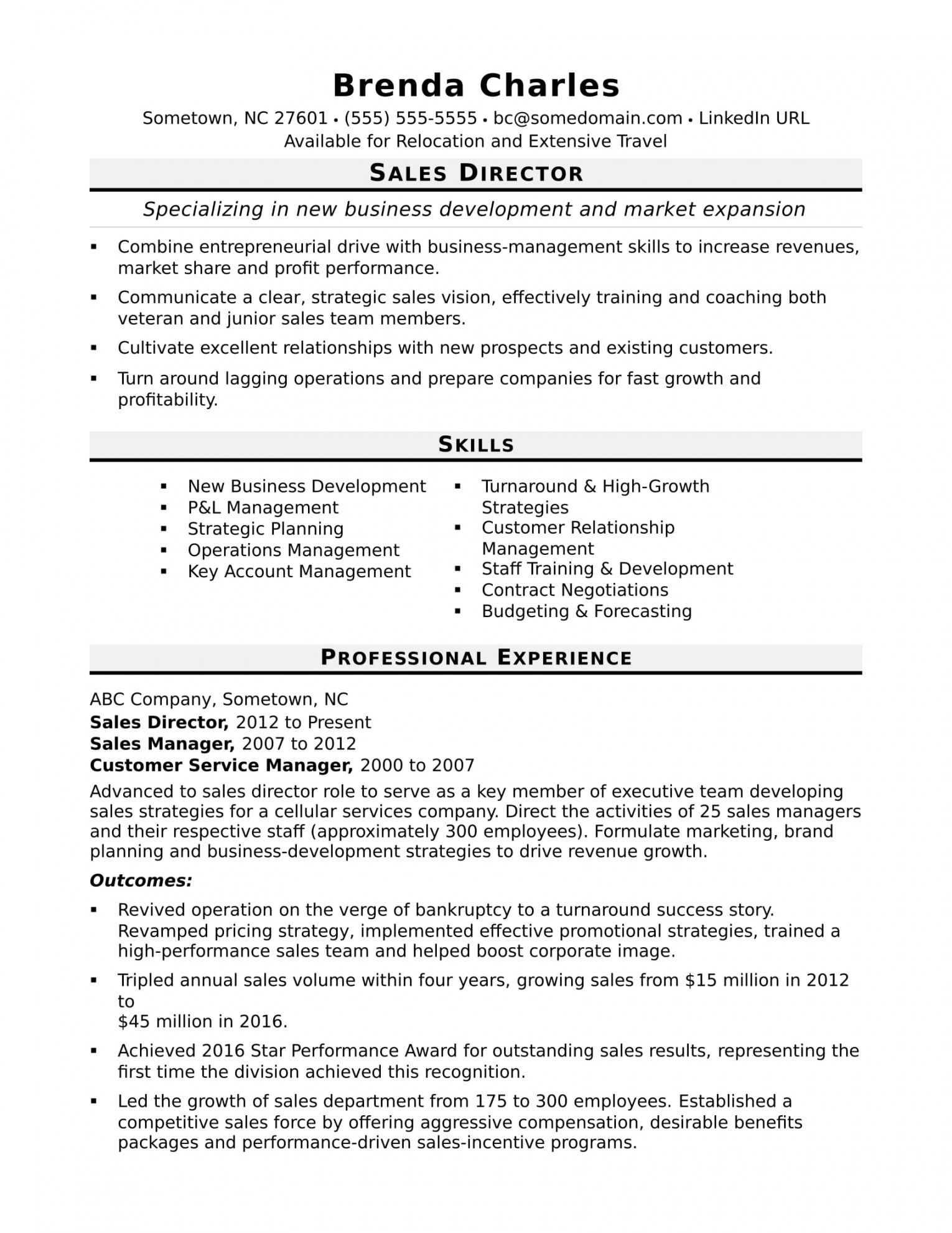 printable sales director resume sample  monster business management resume template