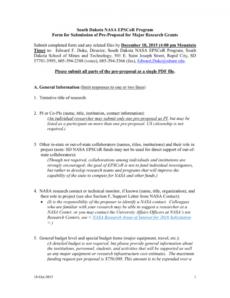 printable sd nasa epscor fy 2016 major research grant nasa proposal template doc