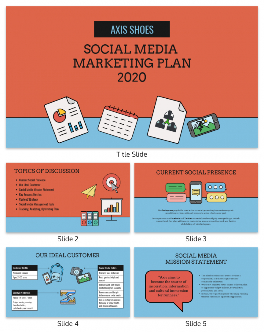 printable social media marketing presentation template social media management template