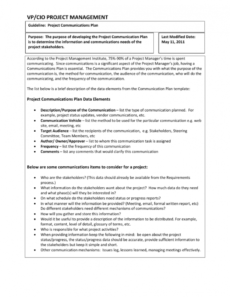 project communications plan guideline project management guidelines template word