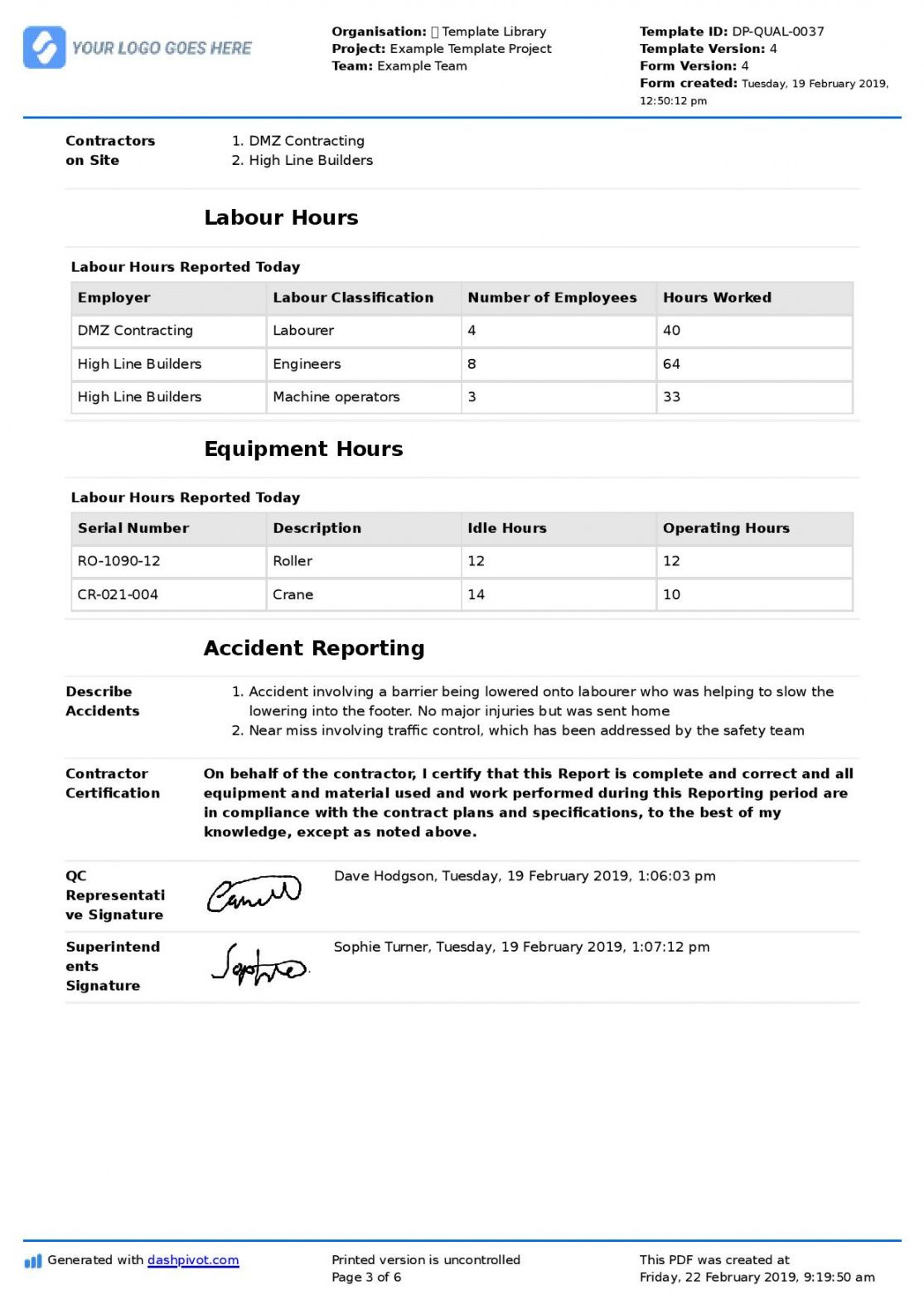 qa qc report template and sample with customisable format quality management system template for construction