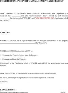 sample commercial property management agreement  pdf free download commercial property management agreement template example