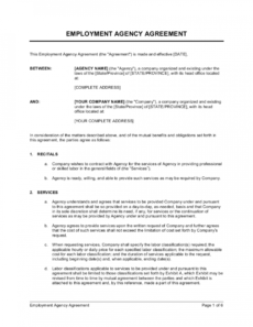 sample employment agency agreement template  by businessinabox™ model management contract template excel