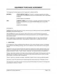 sample equipment purchase agreement template  by businessinabox™ equipment purchase proposal template