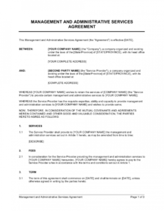 sample management and administrative services agreement template commercial property management agreement template pdf