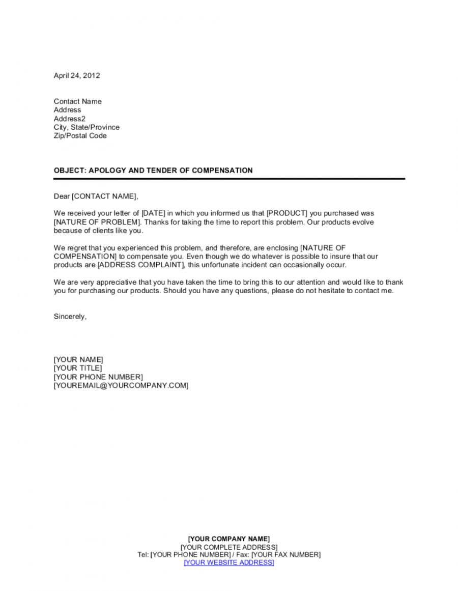 apology and tender of compensation template  by businessin compensation proposal template doc
