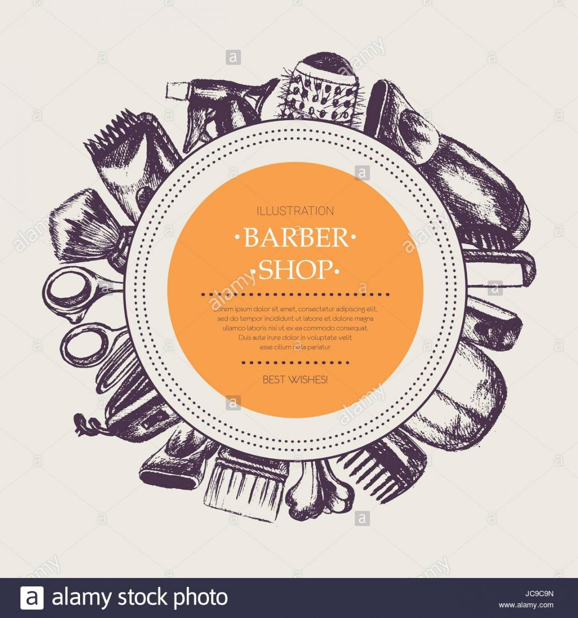 editable barber equipment  vector hand drawn round banner template round banner template doc