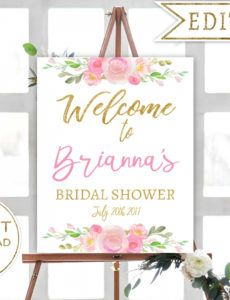 editable bridal shower welcome sign template ~ addictionary wedding shower banner template doc