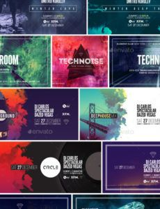 editable electronic music event facebook post banner templates bundle 1 event banner template example