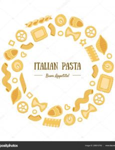 italian pasta banner template round frame with different types of  traditional pasta can be used for menu packaging fyer card vector  illustration round banner template