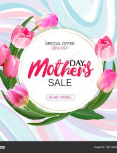 printable mothers day sale offer banner template round banner with lettering on  marble background feminine sale tag shop market poster design vector round banner template word